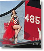 1940s Style Pin-up Girl Standing Metal Print