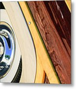 1950 Ford Custom Deluxe Woodie Station Wagon Wheel Metal Print by Jill Reger