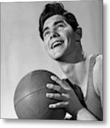 1950s Smiling Boy Holding Basketball Metal Print