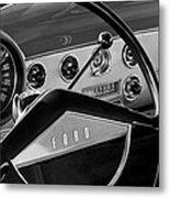 1951 Ford Crestliner Steering Wheel Metal Print by Jill Reger