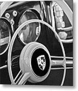 1954 Porsche 356 Bent-window Coupe Steering Wheel Emblem Metal Print