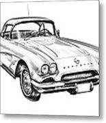 1962 Chevrolet Corvette Illustration Metal Print