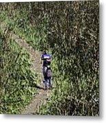 2 Photographers Walking Through Tall Grass Metal Print
