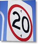 20km Road Sign Metal Print