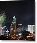 4th Of July Firework Over Charlotte Skyline Metal Print by Alex Grichenko