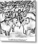 1-800 Herd Of Elephants Metal Print