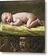 A Baby Asleep On A Pillar Metal Print
