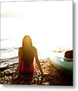 A Beautiful Young Woman Relaxes Metal Print