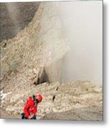 A Climber Descending Longs Peak Metal Print