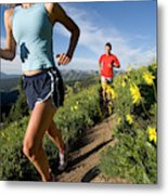 A Couple Trail Running Metal Print
