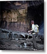 A Female Hiker With Tekking Poles Metal Print