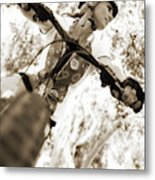 A Female Mountain Biker Metal Print