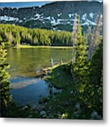 A Fly Fisherman Fishes A High Alpine Metal Print