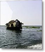 A Houseboat Moving Placidly Through A Coastal Lagoon In Alleppey Metal Print