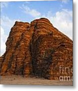 A Landscape Of Rocky Outcrops In The Desert Of Wadi Rum In Jordan Metal Print