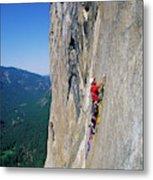 A Man Aid Climbing Metal Print