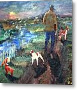 A Man And His Dogs Metal Print
