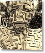 1 A Maze Ing Man Sepia Metal Print