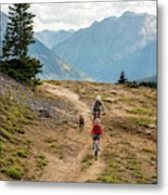 A Mother And Daughter Mountain Biking Metal Print