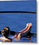 A Nude Woman In A Hot Spring Metal Print