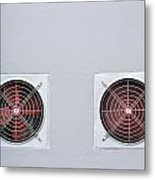 A Pair Of Red Industrial Ventilated Fan On Grey Wall As Backgrou Metal Print