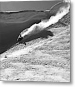 A Snowmobiler Jumping Off A Cornice Metal Print