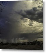 A Stormy Sunset Over Phoenix Az.  Metal Print