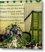 A Table Setting With A Floral Centerpiece Metal Print