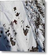 A Telemark Skier In A Narrow Chute Metal Print