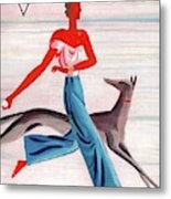 A Vintage Vogue Magazine Cover Of An African Metal Print