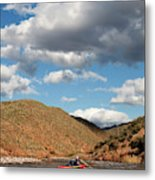 A Whitewater Rafters Rows His Boat Metal Print