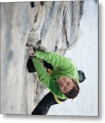 A Woman Climbs The Line 5.9 At Lovers Metal Print