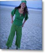 A Woman Having Fun On The Cracked Earth Metal Print
