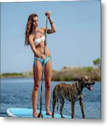 A Young Woman And Her Dog Sup Metal Print