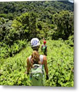 A Young Woman Hikes Through The Jungles Metal Print