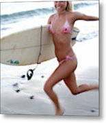 A Young Woman Is Running Metal Print