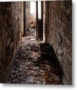 Abandoned Building - Hallway To Ladies Room Metal Print