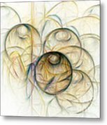 Abstract Colorful Bubbles Fractal Metal Print
