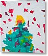 Abstract Kid's Painting Of Christmas Tree With Gifts Metal Print
