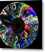 Abstract Rainbow Droplets On Cd Metal Print
