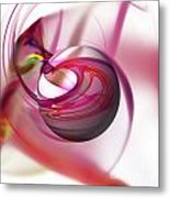 Abstract Red Globe Metal Print
