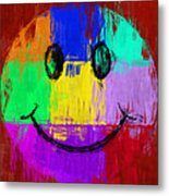 Abstract Smiley Face Metal Print