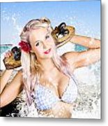 Active Sexy Summer Beach Babe With Skateboard Metal Print