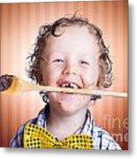Adorable Little Boy Cooking Chocolate Easter Cake Metal Print