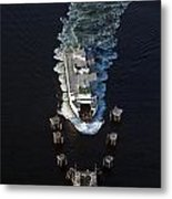 Aerial View Of Passenger Ferry Boat Going To Southworth Puget So Metal Print