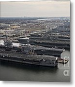 Aircraft Carriers In Port At Naval Metal Print
