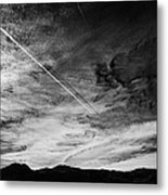 Aircraft Contrail With Shadow On Lower Cloud Nevada Usa Metal Print