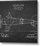 Airplane Patent Drawing From 1918 Metal Print