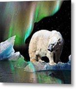 Alaska Aurora Polar Bear Search Metal Print