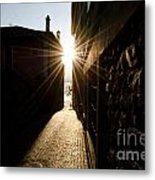 Alley In Backlight Metal Print